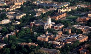 Aerial photo of MU's campus